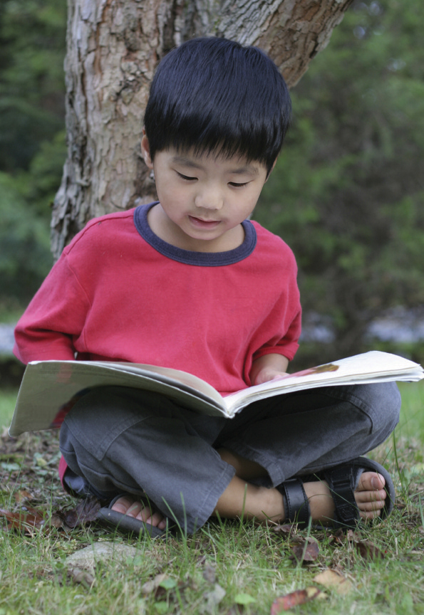child reaeding a book in their lap under a tree