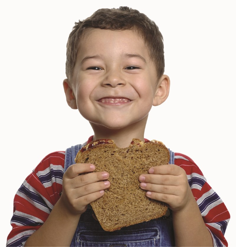 Boy with Peanut Butter and Jelly Sandwich